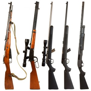 Rifles isolated on white background depicting a Russian bolt action Mosin Nagant, 30-30 Winchester lever action rifle, 22. bolt action rifle with scope, 22. bolt action rifle without a scope, and a black pump-action 12 gauge shotgun.